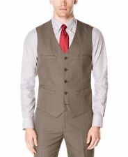 NEW $69 PERRY ELLIS CHINCHILLA BROWN TRAVEL LUXE WRINKLE RESISTANT DRESSY VEST