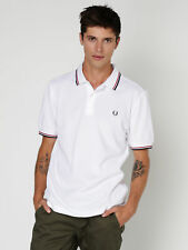 New Fred Perry Twin Tipped Polo Shirt In White Red Navy Mens Polo Shirts
