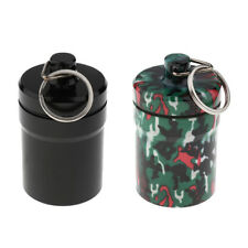 Watertight Capsule Aluminum Large Pill Box Case Bottle Holder Container Keyring
