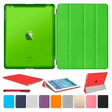 Slim Magnetic Leather Smart Cover Hard Back Case For Apple iPad 2 3 4 + Stylus