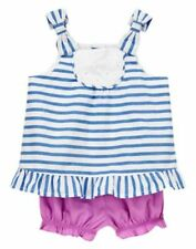 NWT Gymboree Hippos and Bows Stripes Top short Set 0 3 6 9 12 18M Baby Girl