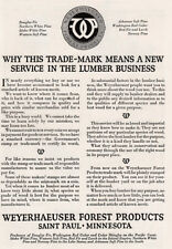 1920 Weyerhaeuser Forest: A New Service in the Lumber Business Vintage Print Ad