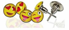 Emoji Face Pin-Back Earrings - Assorted Smiley Emoticon Ear Rings