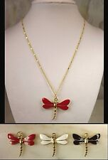 Gold Plated GP Dragonfly Pendant Necklace in Red Black or White