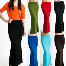 HK- Women's Long Maxi Skirt Candy Color Jersey Flared Summer Casual Dress Virtuo