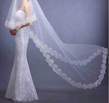WEDDING CATHEDRAL OR FINGERTIP LENGTH SINGLE TIER BRIDAL VEIL, EMBROIDERED EDGE
