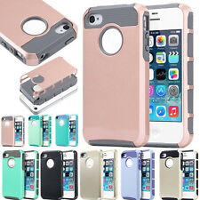 Hybrid Rugged Rubber Hard Shockproof Case Cover Skin for Apple iPhone 4S