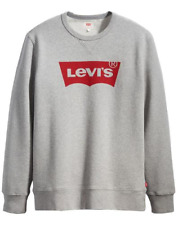 Mens Levis Graphic Batwing Logo Grey & Red Crew Neck Jumper Sweatshirt M, L