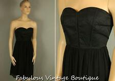 New MAXandCLEO Black Strapless Corset Bustier Knee Length Cocktail Dress Gown 10