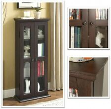 Wood Media Storage Cabinet Small Utility Glass Doors Curio Organiser Espresso