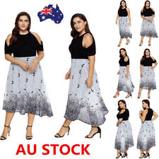 Plus Size Women Cold Shoulder Short Sleeve Swing Dress Evening Party Long Dress