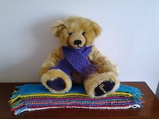 """HAND KNITTED  SCARF FOR 12"""" TEDDY BEAR."""
