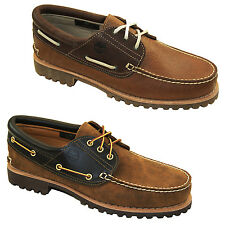 Timberland Authentics Classic 3-Eye Boat Shoes Men's Lace-Up Shoes Deck Shoes