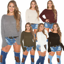 Ladies Knitted Jumper Sweater Trumpet Sleeves Boxy Cut S 32 34 36 Sexy