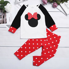 Cotton Infant Kids Baby Girl T-shirt Tops + Polka Dots Pants Outfits Set Clothes