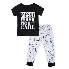 Kids Girls Outfit Short Sleeves Crew Neck T-shirt Tops+Pants Clothes Set Casual