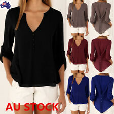 Plus Size Women V Neck Chiffon T-shirt Tops Ladies Casual Loose Office OL Blouse