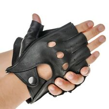Fashion Fingerless Gloves Man Leather Gloves Punk Style Hollow Biker Gloves