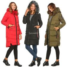 Women Casual Long Sleeve Solid Thickened Parka Coat with Detachable Fur E456