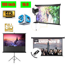 """Manual/Electric Motorised/Tripod 100"""" 16:9 3D Movie Projector Projection Screen"""