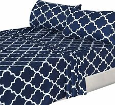 4 Piece Bed Sheets Set Flat Sheet + Fitted Sheet + 2 Pillow Cases Cover