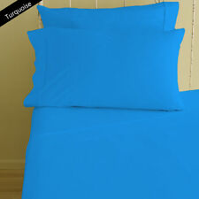 100% Egyptian Cotton 1000 TC 4 PC Sheet Set All Size Turquoise Solid/Stripe""