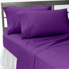 100% Egyptian Cotton 1000 TC 4 PC Sheet Set All Size Purple Solid/Stripe,