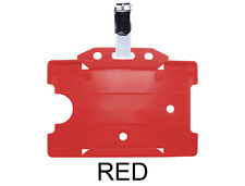 Red ID Badge Card Holder Work Staff Pass Single Sided Landscape Metal Clasp Clip