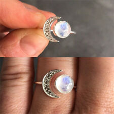 Half Moon Moonstone Ring 925 Silver Boho Handmade Antique Jewelry Openings Ring