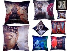 Lord Buddha Silk Blended Pillow Case Cushion Ethnic Indian Cushion Cover Decor