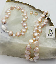 Freshwater Dusky Peach Baroque Pearl Necklace Bracelet S/Silver Clasp Studs.
