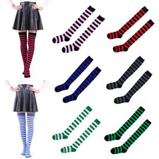 Women Girl Striped Stripy Thigh High Over The Knee Stockings Long Cotton Socks
