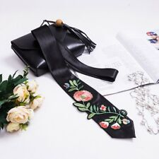 Lady Skinny Scarf Embroidery Floral Satin Long Necktie Cravat Shawl Casual Adorn