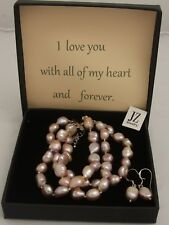 Freshwater Pink 2 String Baroque Pearl Necklace,Bracelet S/S Clasps & Earring