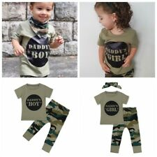 3Pcs Toddler Baby Boys Girls T-shirt Tops+Long Pants Camouflage Green Outfit Set