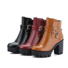 Gothic Womens Ankle Boots Platform Block Heels Side Zip Casual Shoes US4.5-10.5