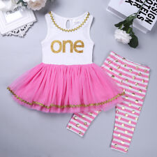 Baby Toddler Girl First 1st Birthday Clothes Dress Top Leggings Pants Outfit Set