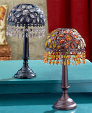 Faux Stain Glass Shade & Metal Table Lamp LED Tea Light Candle Holder