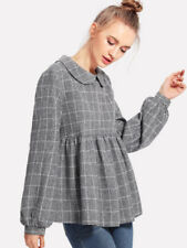 Top Plaid Smocked Long Smock Sleeve Blouse Casual Peter Pan School XS S M L New