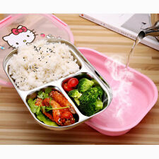 Hello Kitty Stainless Steel Lunch Box Bento with Compartment Lunchbox Bag Girls
