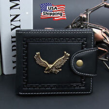 Mens Leather Eagle Trifold Slim Wallets Black ID Credit Card Holder Brown Purse