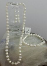 Freshwater Pearl Necklace Bracelet Silver Beads & S/Silver Clasp Stud Earrings.