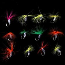 12 x Dry Trout Fishing Flies Various Colors Fly Fishing Lures Hook Tackle