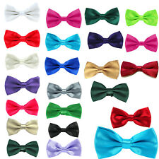 Men Pre Tied Satin Dickie Bow Clip On Bowtie Wedding Prom Adjustable 17 Colors