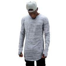 Men Fashion Round Neckline Long Sleeve Cuff Thumb Hollow Out Solid T-Shirt Tops