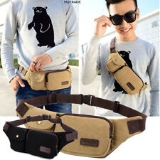 Casual Waist Bag Outdoor Travel Camping Solid Color Canvas Waist Bag -New