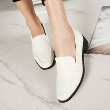 Retro Fashion Womens Low Heels Slip On Oxfords Shoes Casual Flats Formal