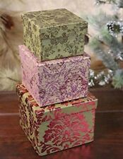 Victorian Trading Co Set of 3 Paperboard Brocade Pattern Nesting Gift Boxes