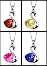 18Kt White Gold Austrian Crystal Swan Heart Pendant Necklace Chain + Gift Box