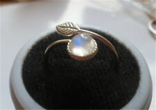 Women Fashion Jewelry 925 Silver Adjustable Moonstone Wedding Ring Open Size